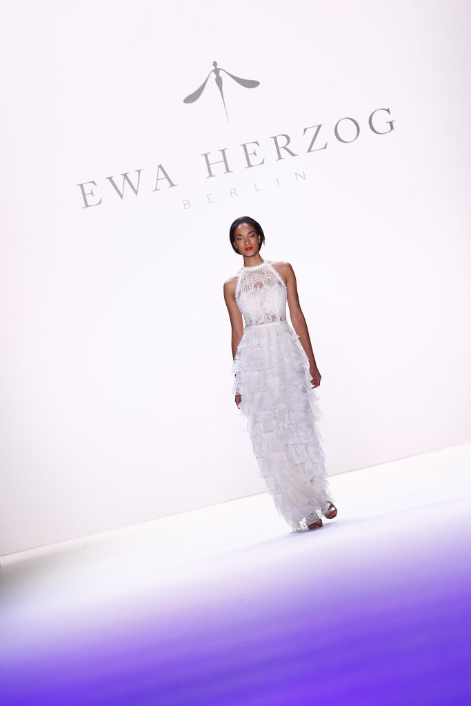 BERLIN, GERMANY - JUNE 28: A model walks the runway at the Ewa Herzog show during the Mercedes-Benz Fashion Week Berlin Spring/Summer 2017 at Erika Hess Eisstadion on June 28, 2016 in Berlin, Germany. (Photo by Frazer Harrison/Getty Images for Ewa Herzog)