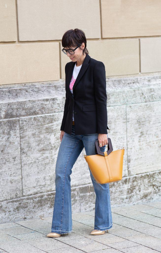 Blazer zur Schlaghose Jeans