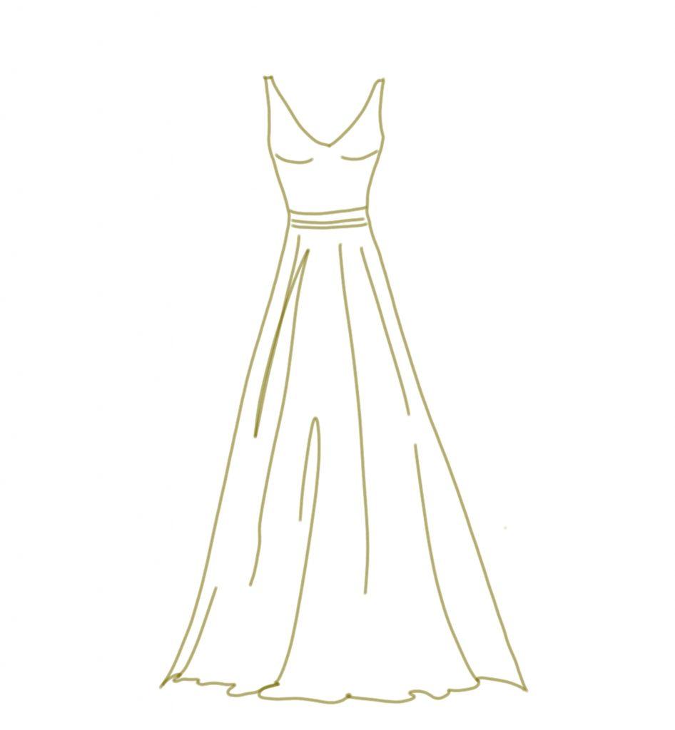 Brautkleid Zeichnung in A-Linie