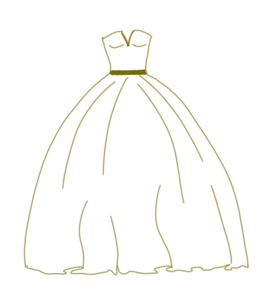 Brautkleid Zeichnung im Prinzessinnen Stil Duchesse
