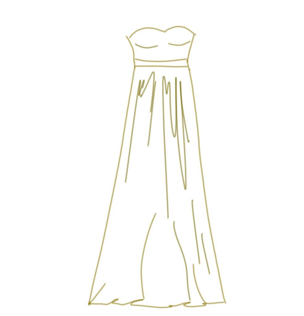 Brautkleid Zeichnung Empire Stil Brautkleid Illustration