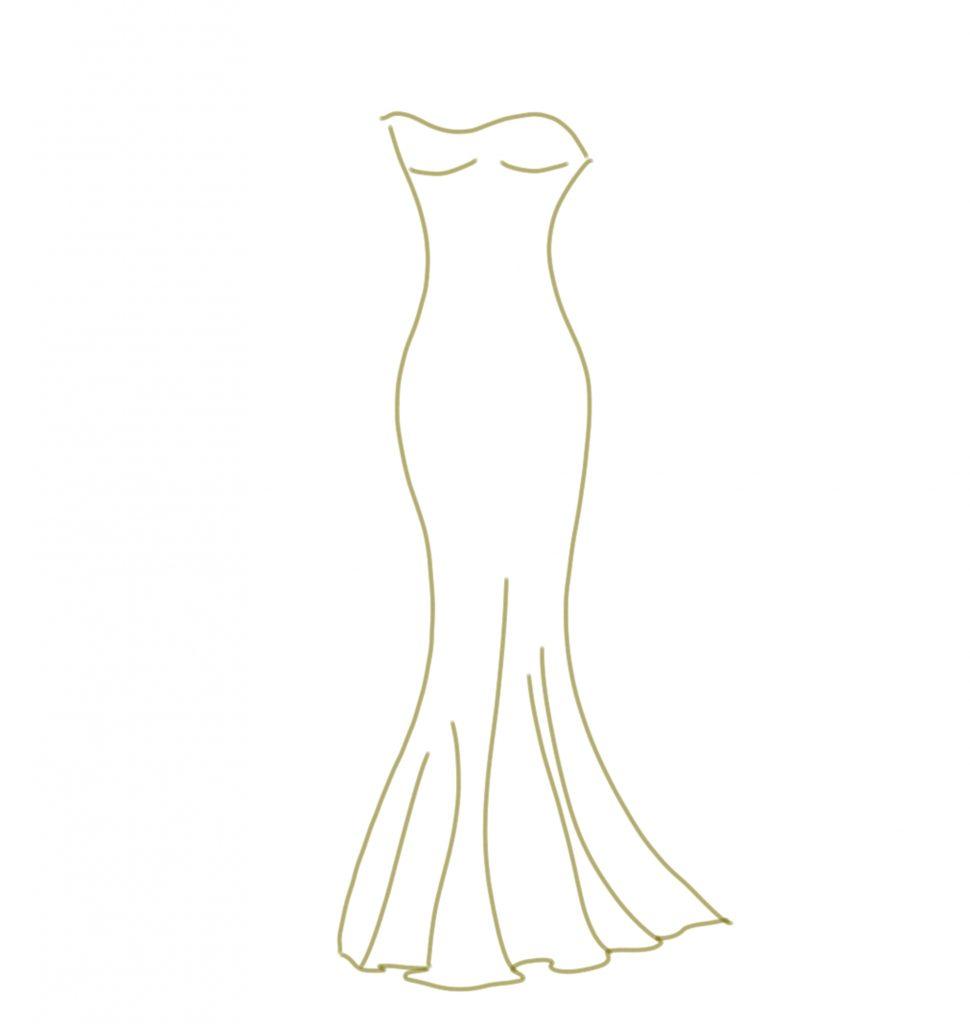 Brautkleid Illustration Mermaid Stil