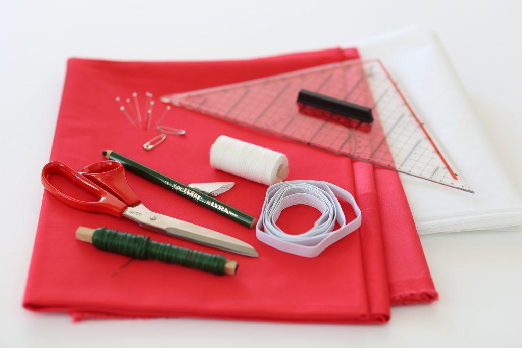 Arbeitsmaterialien für eine Anleitung Mundschutz gegen den Coronavirus