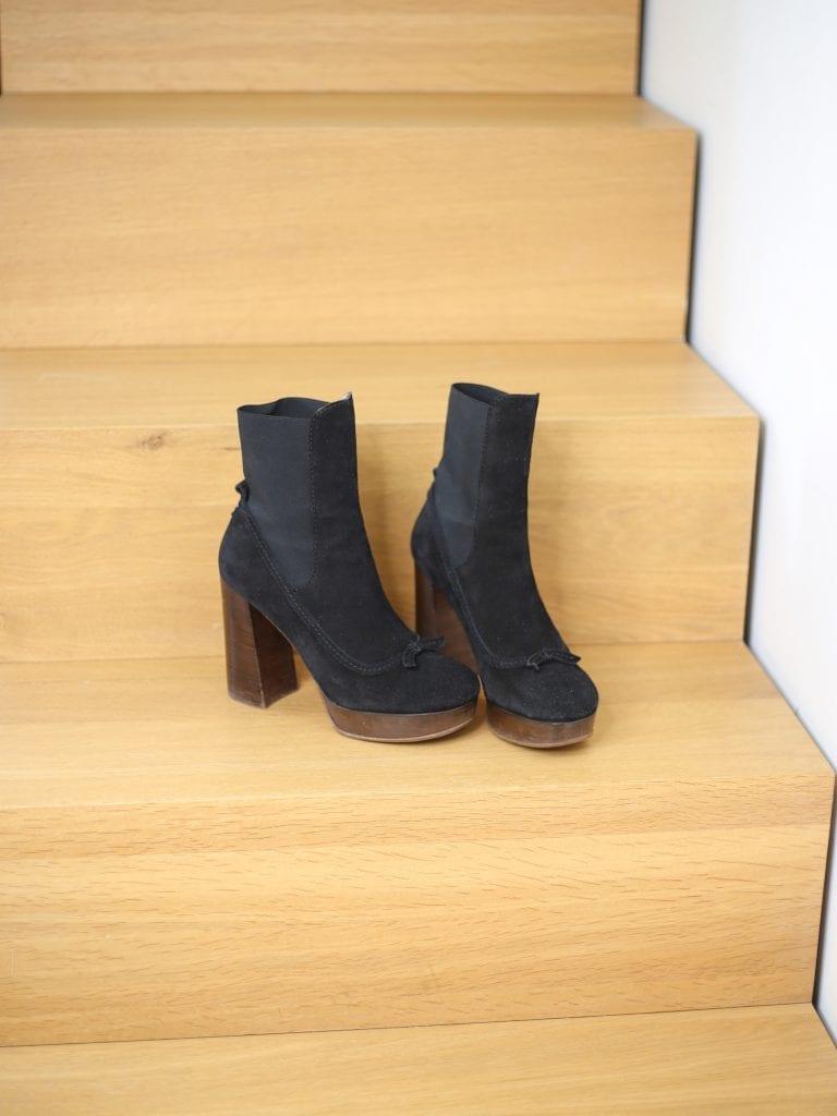 Ein Produktfoto mit schwarzen Schuhen mit Blockabsatz